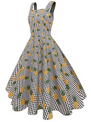 Vintage Printed Square Neck Skater Dress