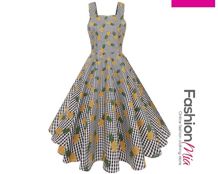 Vintage Printed Square Neck Skater Dress 6796BD004687