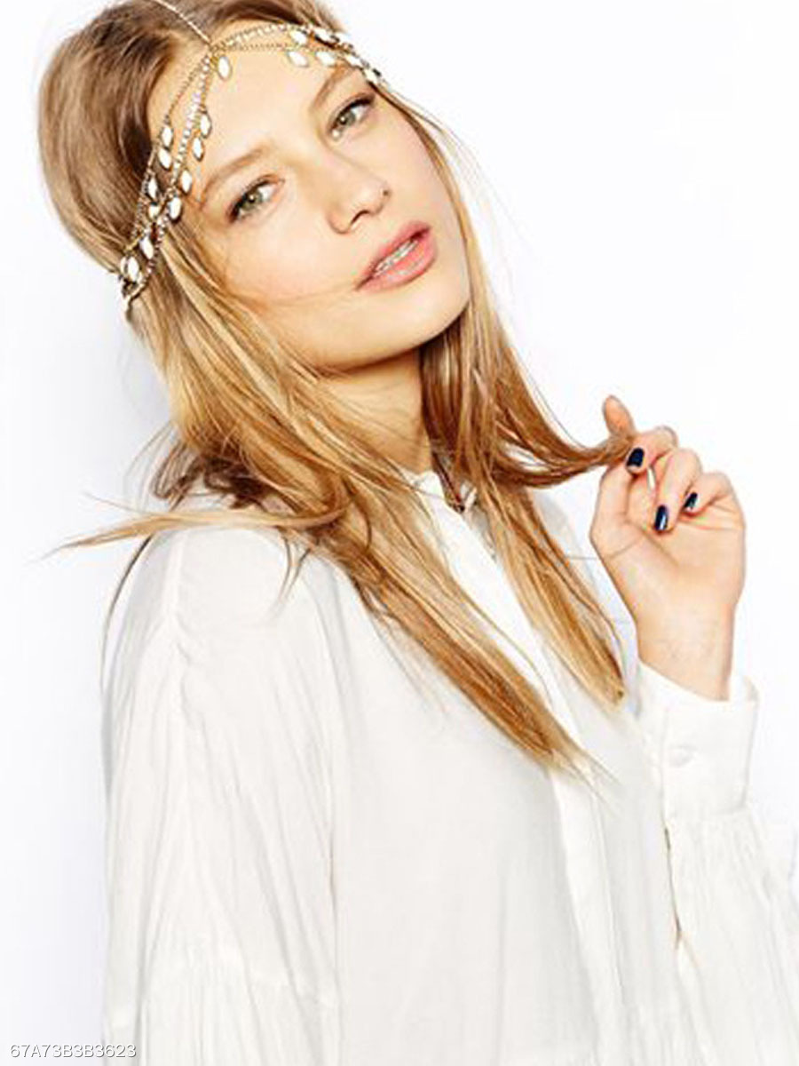 Gold Plated Tassel Gypsy Layer Head Chain