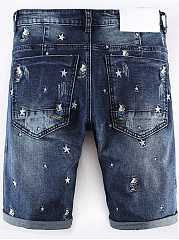 Ripped  Applique Embroidery  Straight  Mid-Rise Casual  Shorts