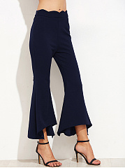 Plain  Flared  Mid-Rise Casual Pants