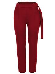 Designed-Plain-Slim-Leg-Casual-Pants