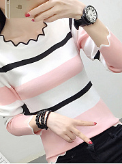 Round Neck  Color Block Striped  Long Sleeve Sweaters Sawtooth Collar Pullover