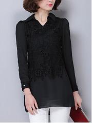 Fold-Over-Collar-Decorative-Lace-Plain-Blouses