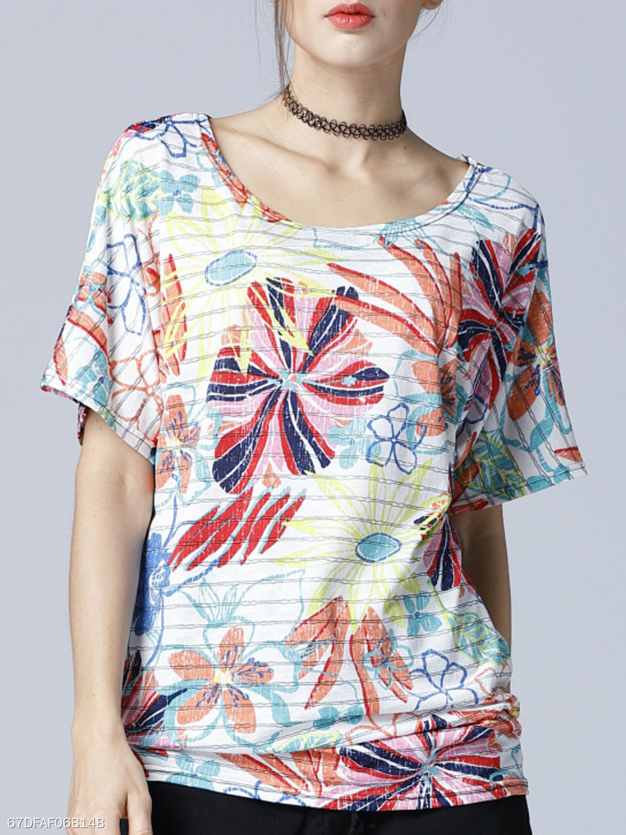 Summer  Polyester  Women  Round Neck  Floral Striped Short Sleeve T-Shirts