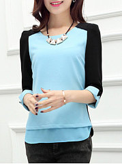 Spring Summer  Spandex  Women  Round Neck  Patchwork  Plain  Three-Quarter Sleeve Blouses