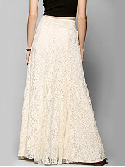 Solid Lace Elastic Waist Flared Maxi Skirt