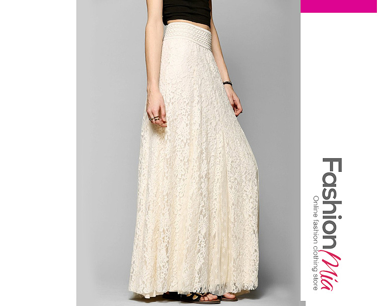 Image of Solid Lace Elastic Waist Flared Maxi Skirt