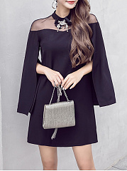 Band Collar  Rhinestone See-Through  Plain Shift Dress