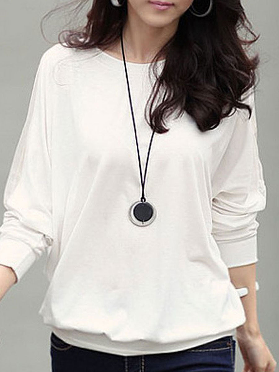 Round Neck  Patchwork  Plain  Long Sleeve Blouses