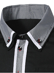 Contrast Gingham Trim Men Shirt With Button Down Collar