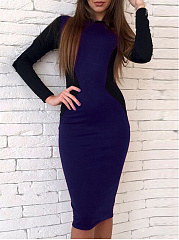 Crew Neck  Colouring Bodycon Dress