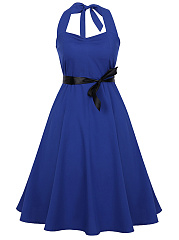 Halter Backless Belt Skater Dress