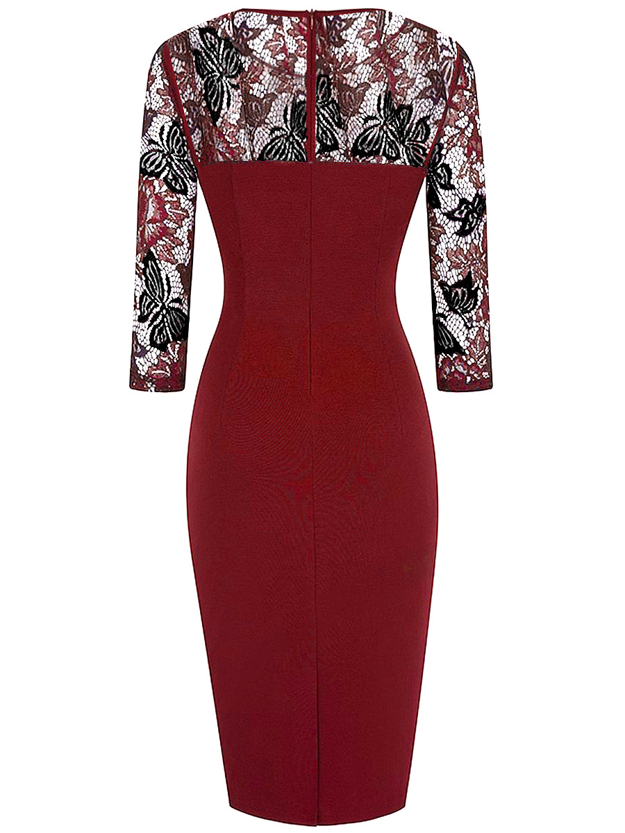 Round Neck Patchwork Hollow Out Bodycon Dress