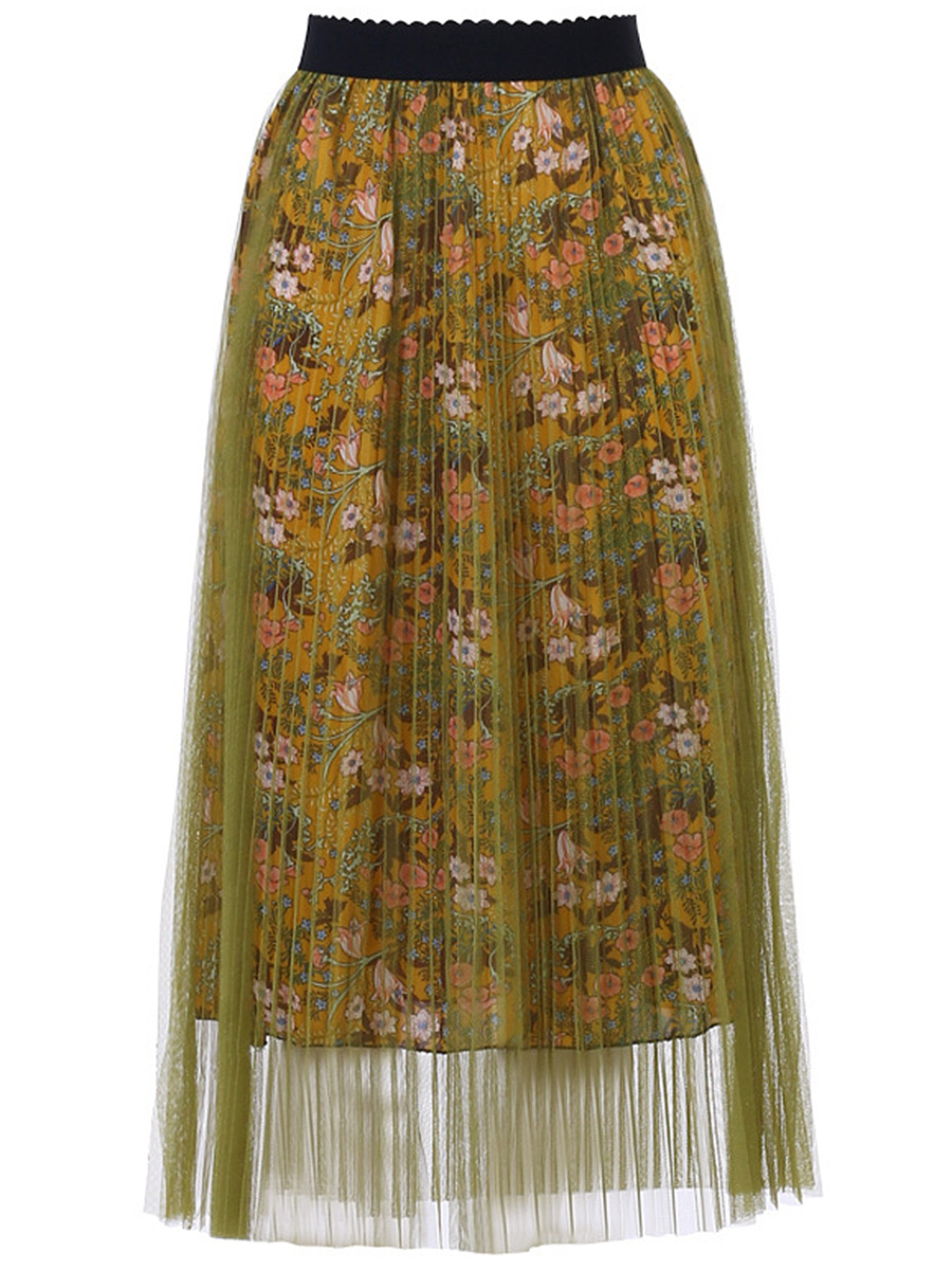Tiny Floral Hollow Out Pleated Midi Skirt