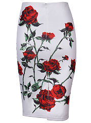 Floral Printed Slit Pencil Midi Skirt