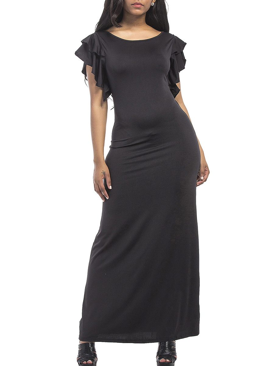 Round Neck Plain Ruffle Sleeve Maxi Dress