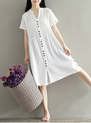 Band Collar  Decorative Button Shift Dress