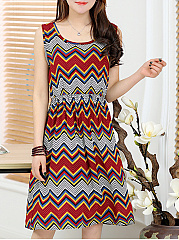 Square Neck  Geometric Plus Size Midi  Maxi Dress
