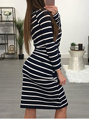 One Shoulder  Belt  Striped Bodycon Dress