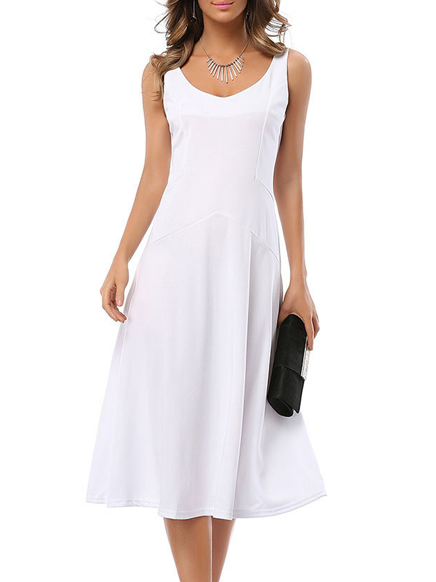 V-Neck Plain Midi Skater Dress
