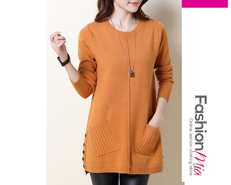 gender:women, hooded:no, thickness:regular, brand_name:fashionmia, style:elegant, material:knit, collar&neckline:round neck, sleeve:long sleeve, embellishment:patch pocket, pattern_type:plain, supplementary_matters:accessory is excluded., occasion:daily, season:autumn,winter, package_included:top*1, lengthshouldersleeve lengthbust