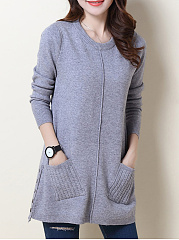 Round Neck  Patch Pocket  Plain Pullover
