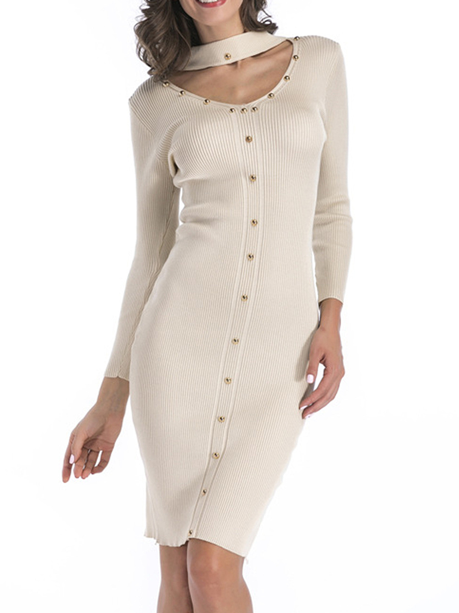 High Neck Cutout Rivet Plain Knitted Bodycon Dress