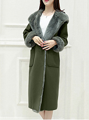 Longline Lapel Patch Pocket Plain Woolen Coat