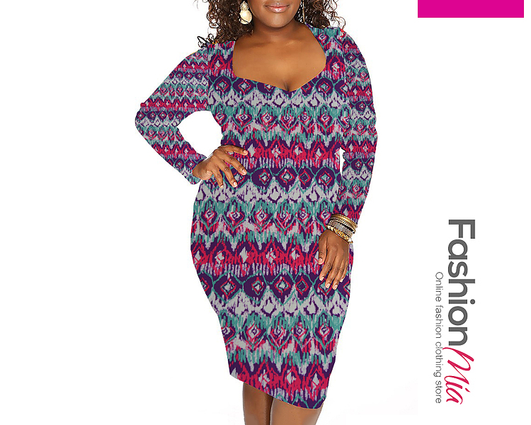 Abstract Print Plus Size Bodycon Dresses