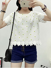 Spring Summer  Cotton  Women  Round Neck  Decorative Lace  Polka Dot Short Sleeve T-Shirts