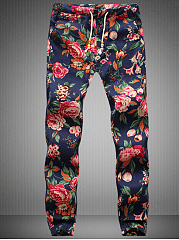 Floral Printed Elastic Waist Men's Casual Pants