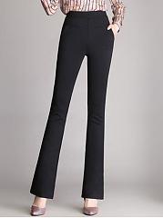 Plain-High-Rise-Bootcut-Casual-Pants