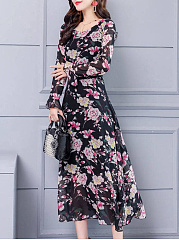 Round Neck  Printed Elegant Maxi Dress