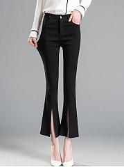 Plain-Flared-Slit-Casual-Pants