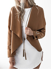 Lapel-Snap-Front-Plain-Woolen-Blazer