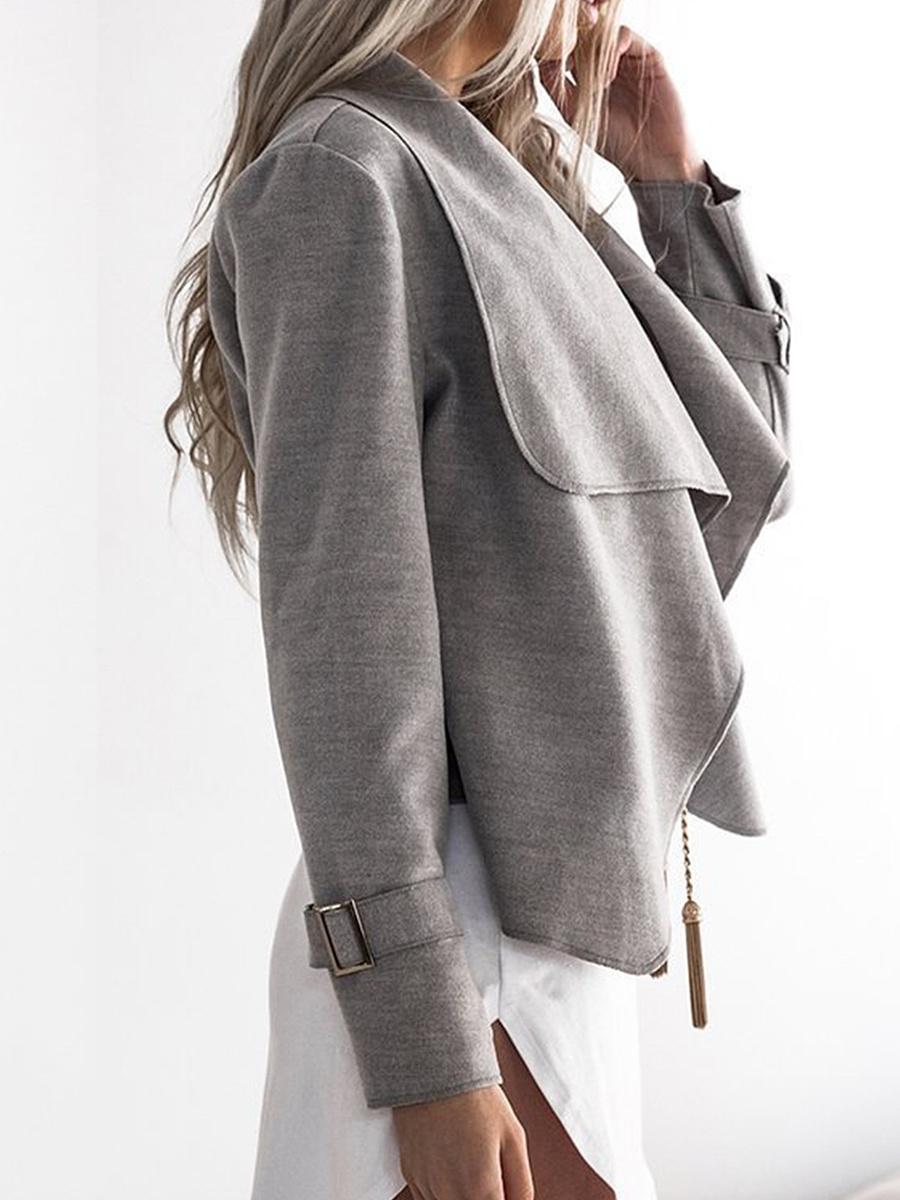 Lapel  Snap Front  Plain Woolen Blazer