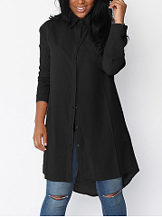 Turn Down Collar Basic Plain Shift Dress