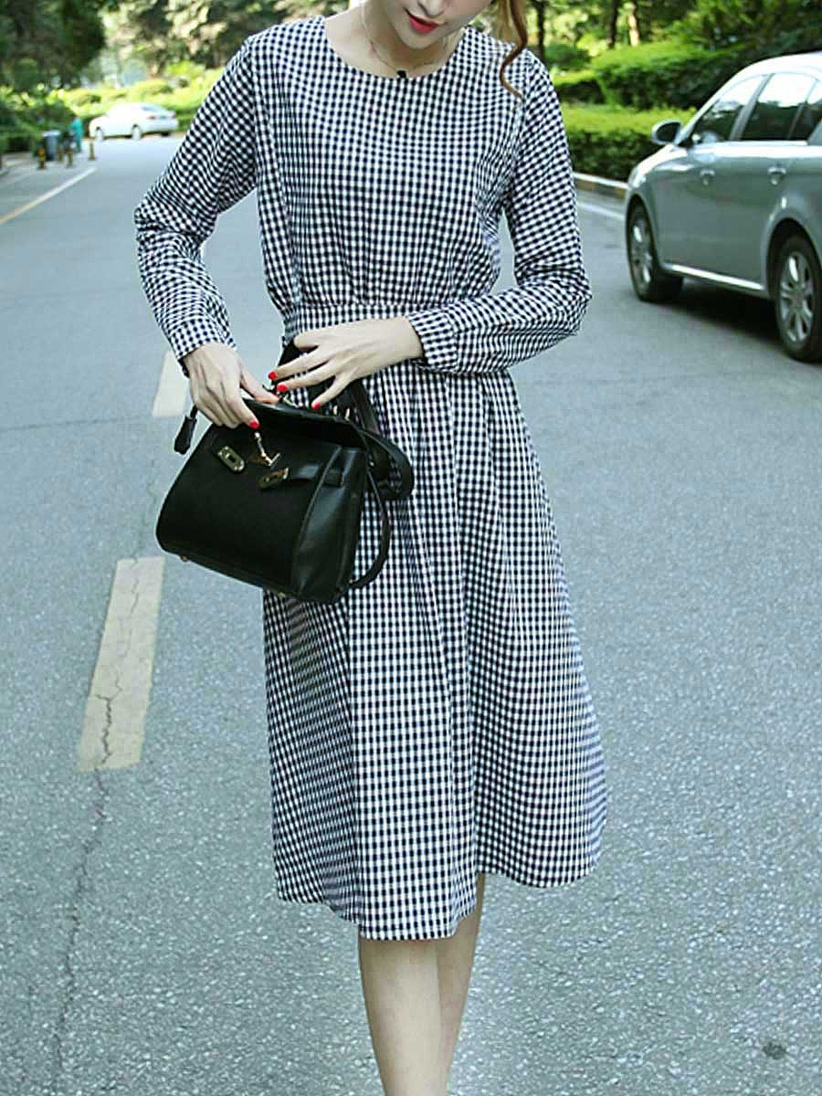 Round Neck Plaid Bowknot Batwing Sleeve Skater Dress