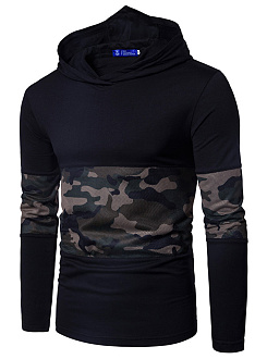 Hooded  Patchwork  Camouflage Men T-Shirt