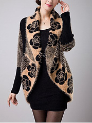 Lapel Floral Brocade Cape