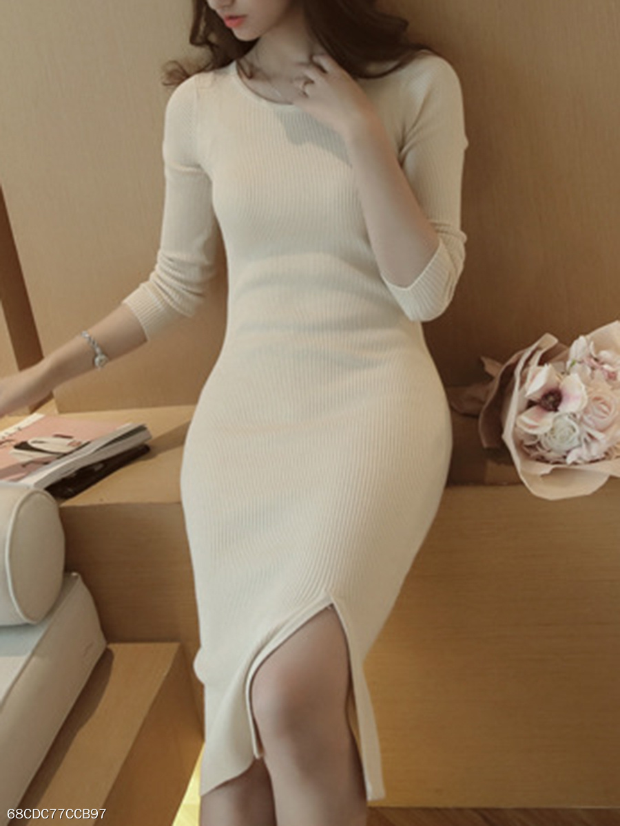 Sexy Solid Slit Knitted High Stretch Bodycon Dress