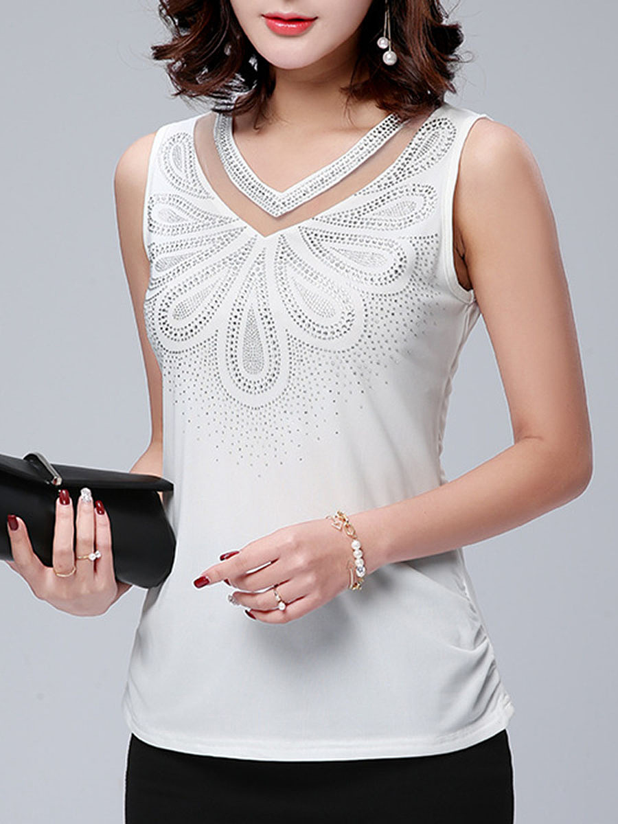 V-Neck Beading Patchwork Plain Sleeveless T-Shirt