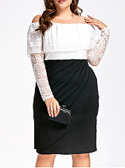 Off Shoulder  Patchwork  Plain Plus Size Bodycon Dresses