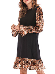 Round Neck  Animal Printed Shift Dress