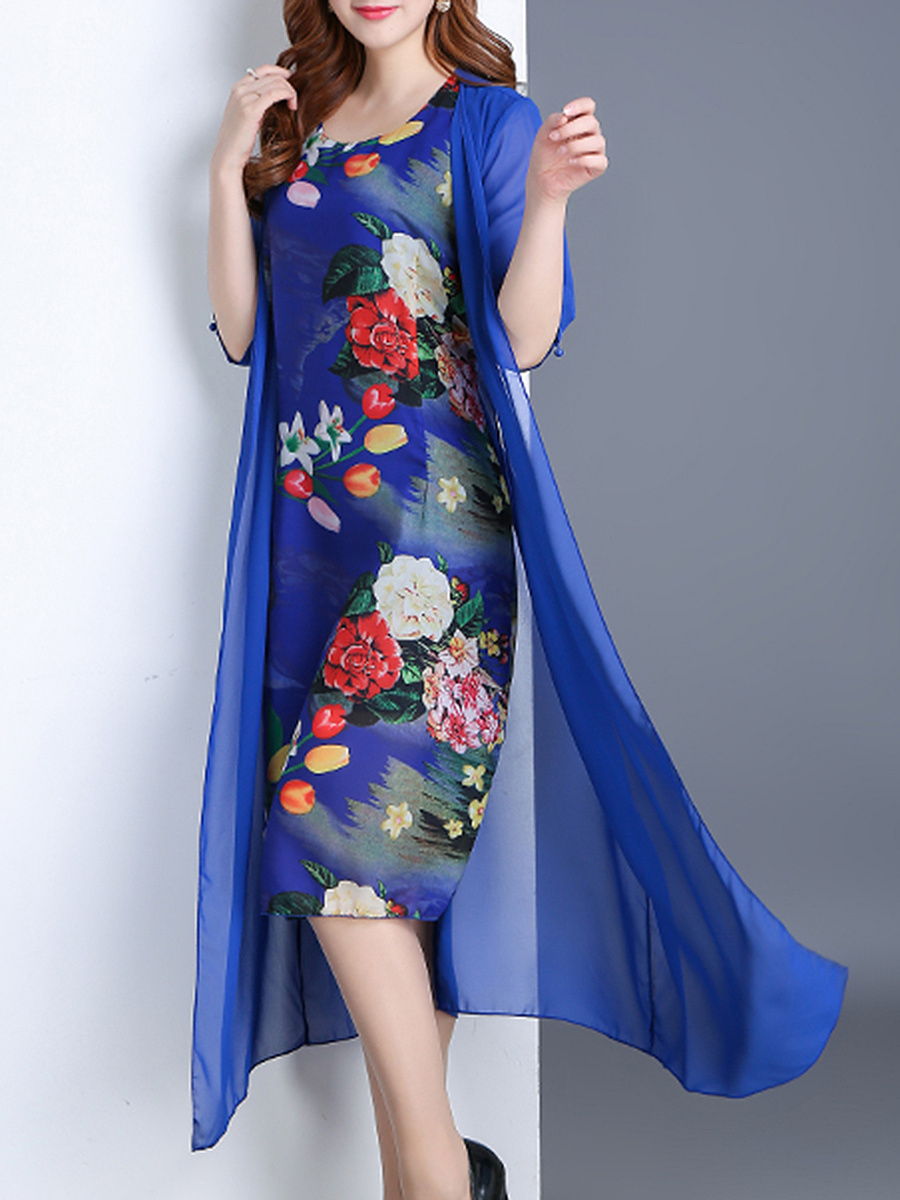 Round Neck Floral Printed Hollow Out Chiffon Maxi Dress