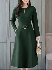 Round Neck  Decorative Hardware  Plain Skater Dress