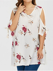 Open Shoulder  Printed  Tie Sleeve  Short Sleeve Plus Size Blouses