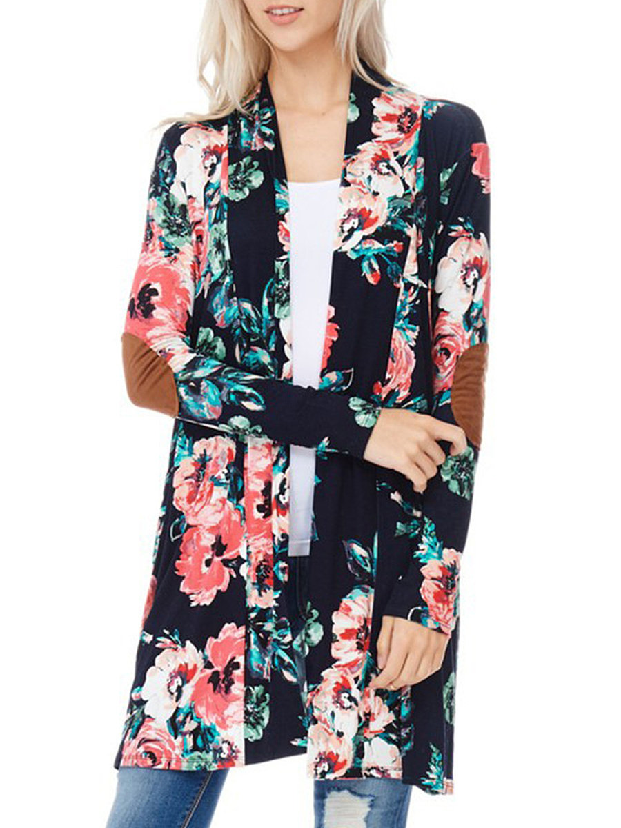 Floral Printed Decorative Patch Longline Cardigan
