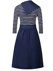 Fold-Over Collar Striped Skater Dress